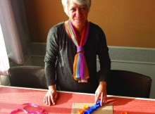 Wintec staff member Jan Liddell prepares for Matariki Wearable arts this year.
