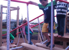 Pupils at Turua Primary School enjoying their new playground.