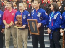 The astronauts with gifts from Tainui. Photo - Melisa Martin