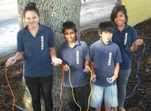Whitiora Primary School pupils (from left) Johlene Waiti, Ammol Sagar, Mark Eludo and Sia Laulaupeaalu will attend the skipping workshop