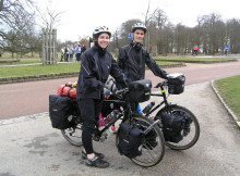 Emma Philpott and Justin Hewitt in London at the start of their trip to Asia.