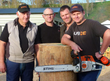 A Family Affair- from left Brian Trow with his sons Rex, Lance and Wayne before the Stihl and Waikato Draught Chainsaw Carving Competition