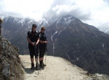 Michelle Martin with her sister Katrina at the footsteps of Mount Everest