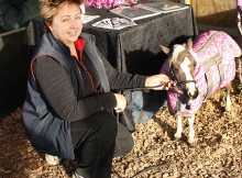 Debbie Sloan with a miniature horse