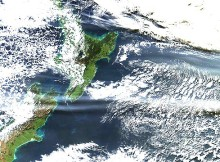 Satellite image of ash cloud over New Zealand