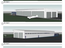 Sketches of proposed Waharoa aviation museum.
