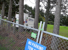 The satellite trailer which had to be located on the golf course on the other side of the pine trees gives internet access to Wintec journalism students