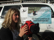 Closeup: Raglan photographer Jane Alice takes her shots out in the surf.
