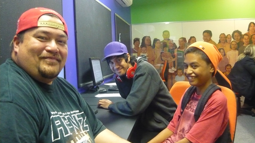 Enderley computer clubhouse co-ordinator Anthony Hall with tech savvy teens Te Rata Roberts, centre, and Maka Phillips