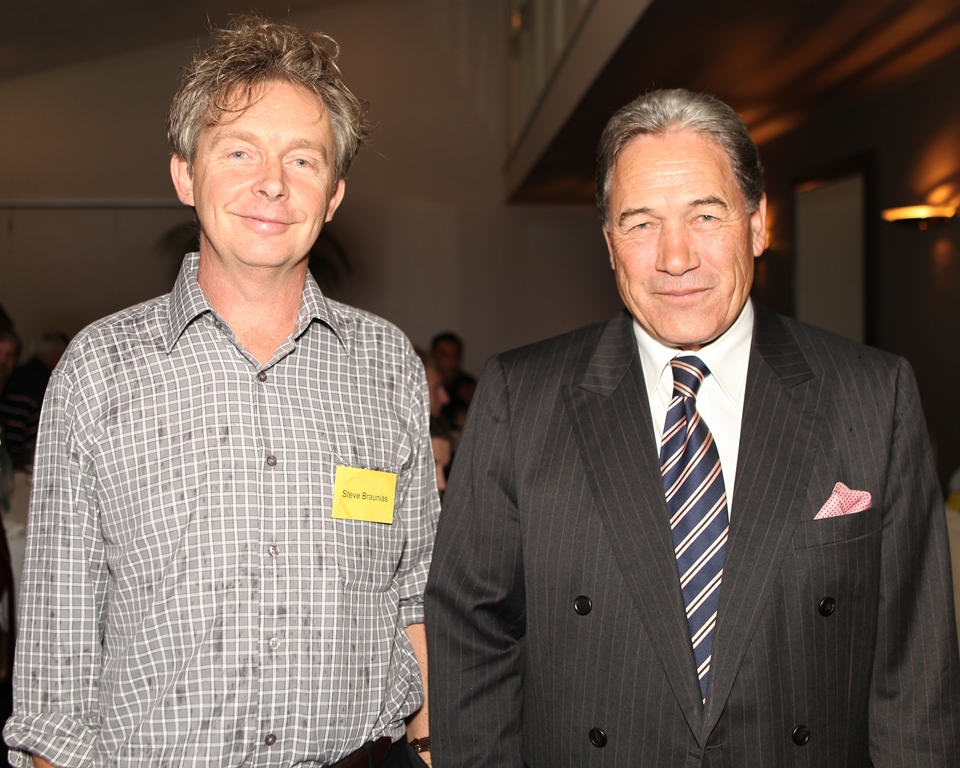 HEAVY WEIGHTS: Editor-in-residence Steve Braunias with NZ First leader Winston Peters at a Wintec Press Club.