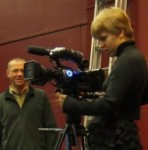 "Wintec Moving Image Students test their specially-designed camera ""dolly"" at the filming of River City Sound System, under the watchful eye of tutor John Mandelberg (left)."