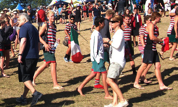 Proud: Westlake Boys High School students make way out of crowd Photo: Melissa Wishart