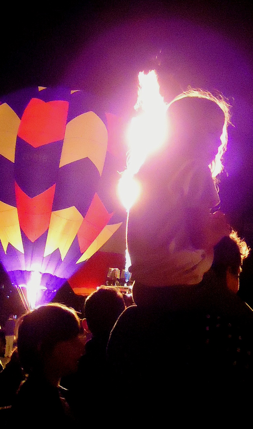 FLAMING BASKETS: Night Glow-goers got closer to the action this year.