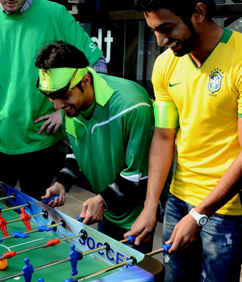 HAVING A BALL: Foosball is a laugh a minute for management student Muteb Alzalee and environmental science student Ali Mahzary, both from Saudi Arabia. Photo: Libby Wilson