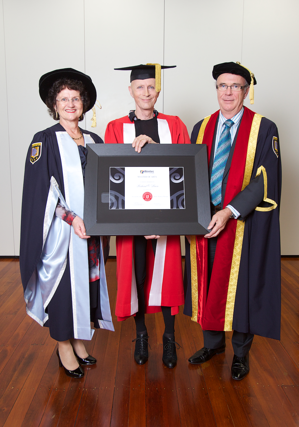 NO ROCK HORROR HERE: Wintec Chair, Mary Cave-Palmer, honorary recipient, Richard O'Brien and Wintec Chief Executive, Mark Flowers.