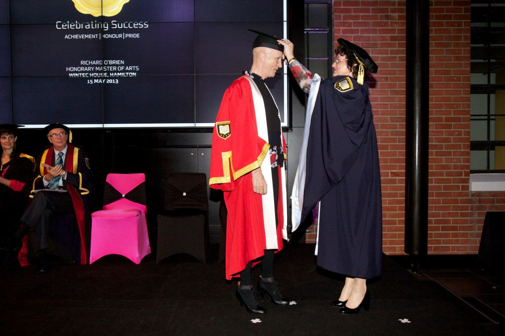 CLOAK AND ALL: Honorary recipient, Richard O'Brien and Wintec Chair, Mary Cave-Palmer.