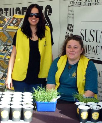HORTICULTURAL LOVE: Wintec students Amanda Parkinson (left) and Christine Chambers (right) are handing out free plant seedlings on behalf of horticultural awesomeness. Photo: Ciaran Warner