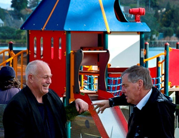 PLAY TIME: Crs Dave Macpherson and Martin Gallagher discuss fast-tracking playground development in Hamilton. Photo: Lance McCaughan
