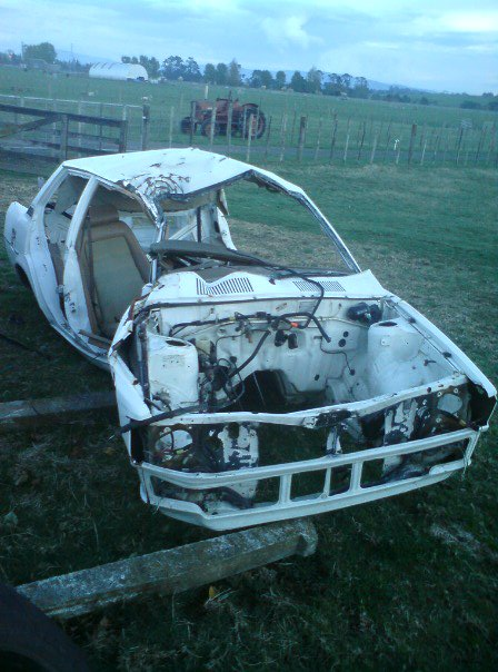 CRUSHED METAL: Remnants of the Morrinsville man's car after he dismantled it . Photo: Supplied