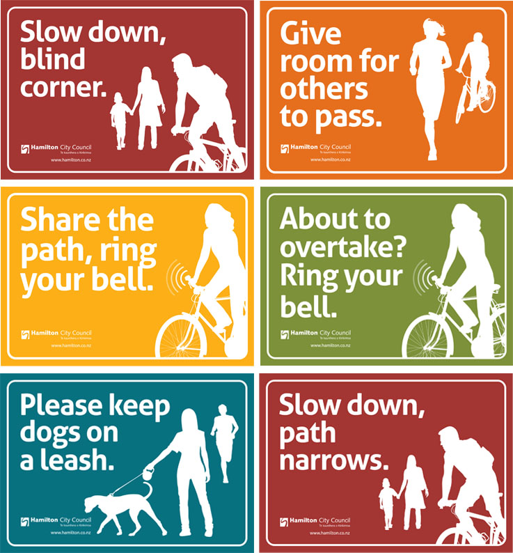 NEW SIGNS: Hamilton City Council placed six different signs in 22 locations along the river pathway. Photo: Supplied.