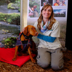 Hannah Flatman with conservation dog Pip. Photo: Evan Xiao