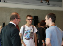 MEET AND GREET: Labour leader Andrew little talks to students Jordan Holland (left) and James Schafli at the Gallagher Hub. Photo: Paul Mitchell