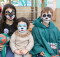 Painted: Chloe, Oliver, and Carlos Wharekawa show off their painted faces. Photo: Garrick Dyer