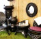 The array of furnitures made from recycled tyres. Photo: Chris Davis
