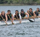Taking To The Water: Paeroa College girls gaining their title at the 2016 Te Wānanga o Aotearoa National Secondary School Waka Ama Championships.