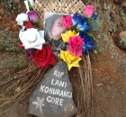 Lani Kohurangi Gore's new memorial laying against that is left of the tree