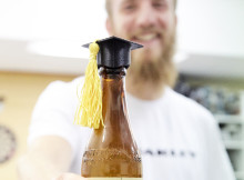 : Hamish Carter has high hopes for the graduation themed bottle opener that he developed with fellow students (Photo: Kaycie O'Connor)