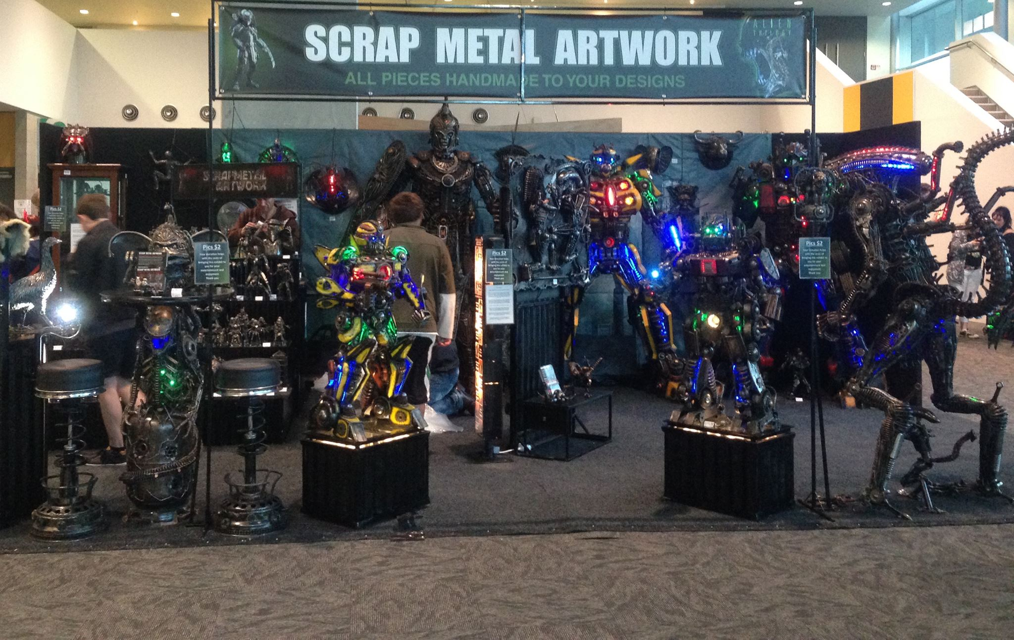 Figurines made entirely out of scrap metal, made for a popular stall at this years Auckland Armageddon Expo.