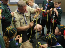 Paul Nimmo, Akela, demonstrating Knot-tying activity to the cubsPhoto by: Maxx Alcobilla