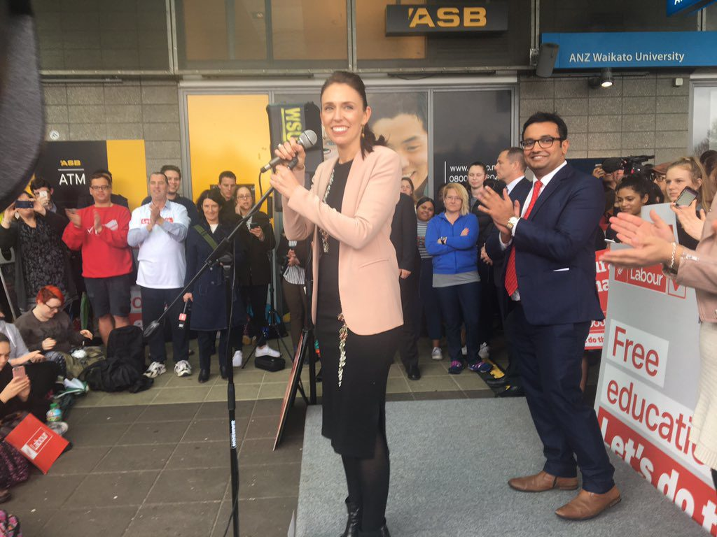 Labour leader Jacinda Ardern speaking at Waikato University after the Meteor meeting. Photo: Jenna Lynch